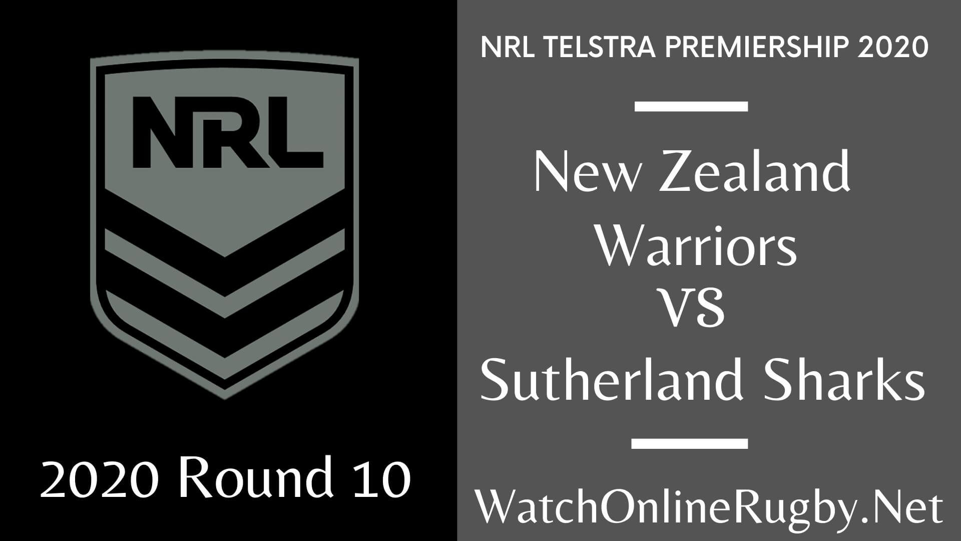Warriors Vs Sharks Highlights 2020 Round 10 Nrl Rugby