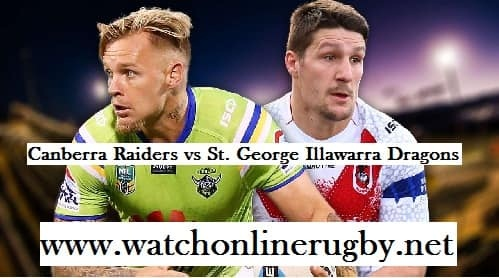 Canberra Raiders vs Dragons live