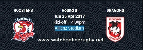 Sydney Roosters vs Dragons live